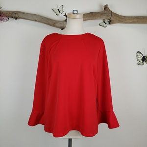 Ann Taylor red boatneck  blouse with ruffle hem